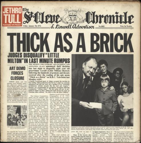 Jethro Tull Thick As A Brick - 2nd - VG/EX vinyl LP album (LP record) UK TULLPTH695341