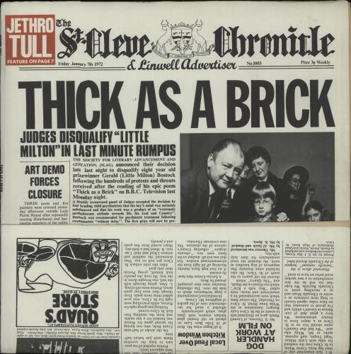 Jethro Tull Thick As A Brick 2nd Uk Vinyl Lp Album Lp