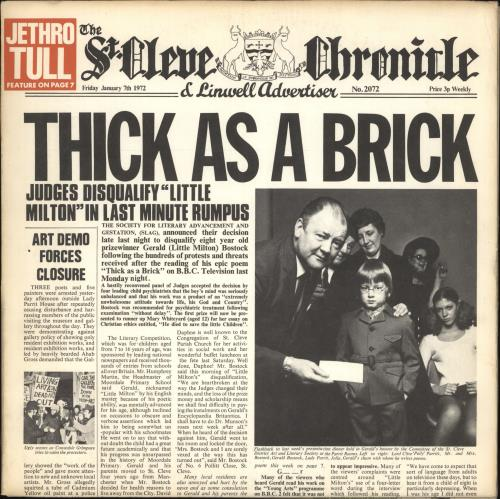 Jethro Tull Thick As A Brick - Chrysalis vinyl LP album (LP record) US TULLPTH716525