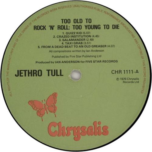 Jethro Tull Too Old To Rock 'n' Roll - 1st - EX vinyl LP album (LP record) UK TULLPTO65625