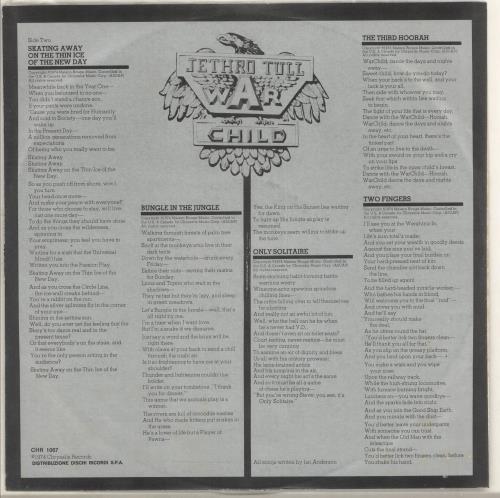 Jethro Tull War Child + Inner vinyl LP album (LP record) Italian TULLPWA726850