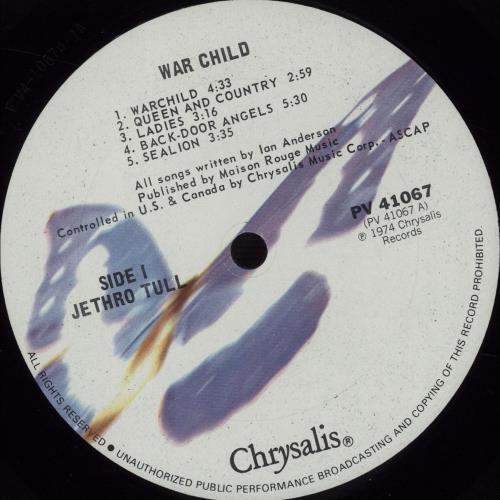 Jethro Tull War Child vinyl LP album (LP record) US TULLPWA671523