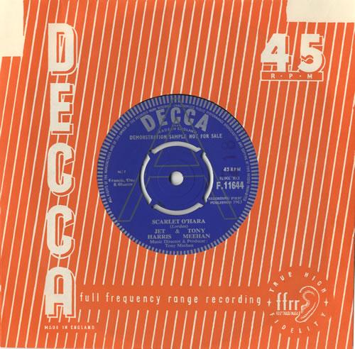 """Jet Harris & Tony Meehan Scarlet O'Hara 7"""" vinyl single (7 inch record) UK JA407SC471239"""