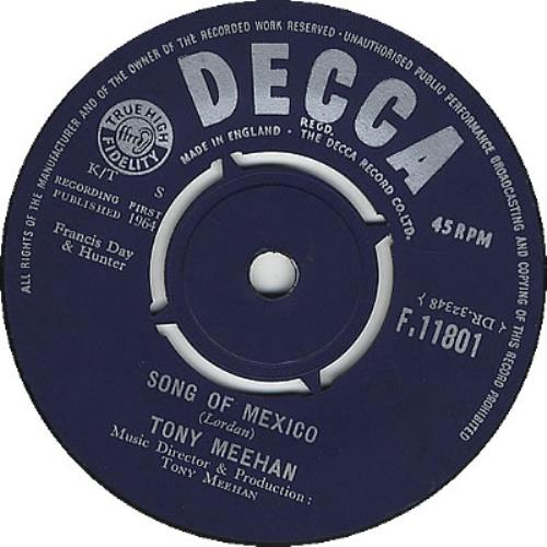 "Jet Harris & Tony Meehan Song Of Mexico 7"" vinyl single (7 inch record) UK JA407SO269872"