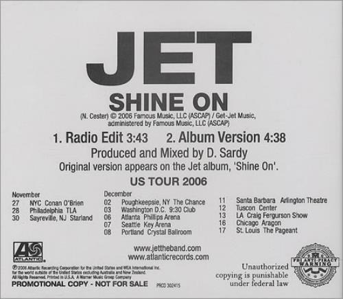 """Jet Shine On CD single (CD5 / 5"""") US J/TC5SH384458"""