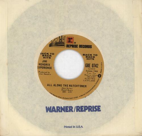"Jimi Hendrix All Along The Watchtower / Crosstown Traffic 7"" vinyl single (7 inch record) US HEN07AL334583"