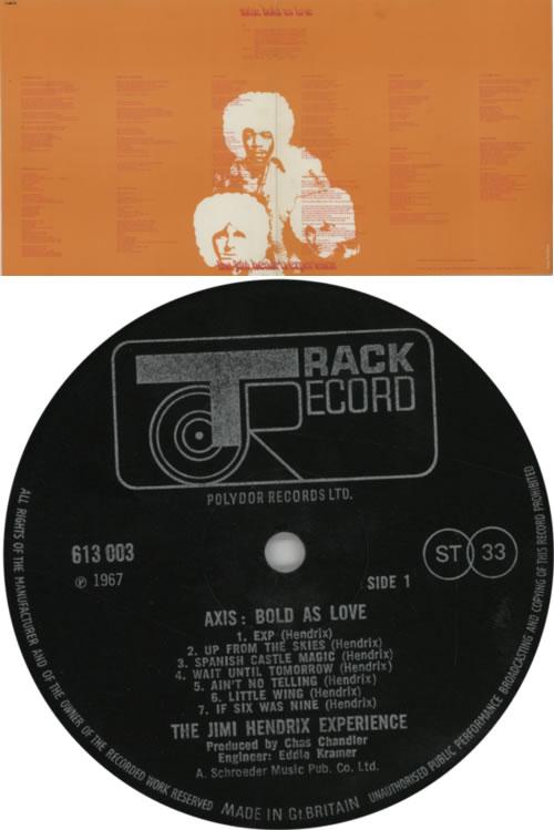 Jimi Hendrix Axis: Bold As Love - 1st + insert - VG vinyl LP album (LP record) UK HENLPAX598906