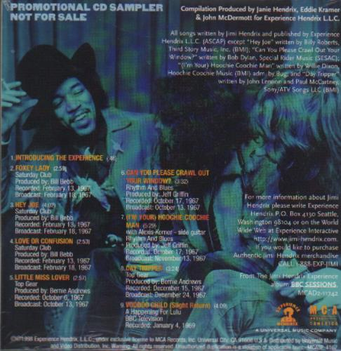 Jimi Hendrix Bbc Sessions Sampler CD album (CDLP) US HENCDBB111524