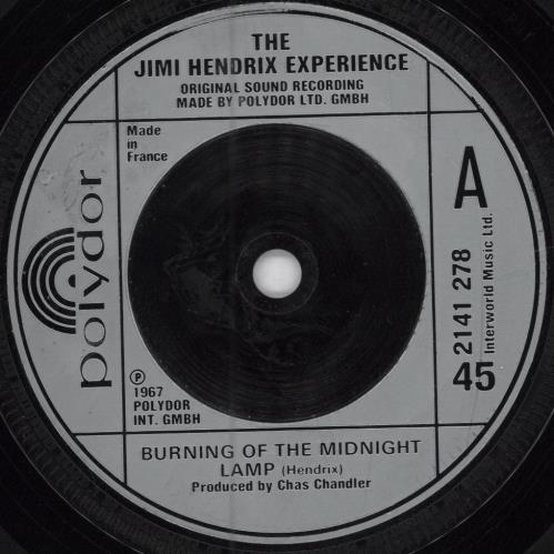 "Jimi Hendrix Burning The Midnight Lamp - Injection Label 7"" vinyl single (7 inch record) French HEN07BU637594"
