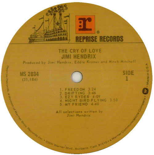 Jimi Hendrix Cry Of Love vinyl LP album (LP record) US HENLPCR549596