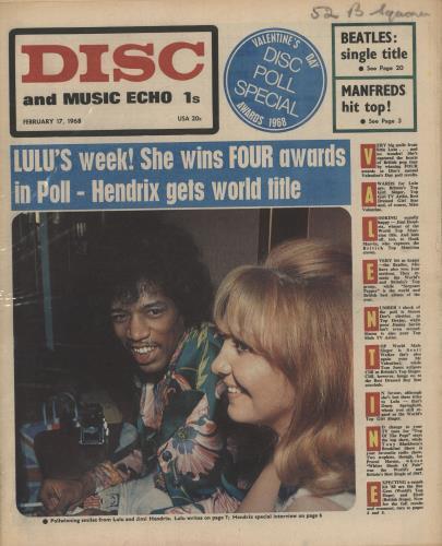 Jimi Hendrix Disc & Music Echo magazine UK HENMADI739680