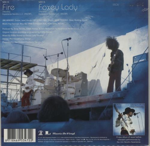 "Jimi Hendrix Fire / Foxey Lady (Miami Pop Festival) - RSD BF13 - Numbered Sleeve 7"" vinyl single (7 inch record) UK HEN07FI683181"
