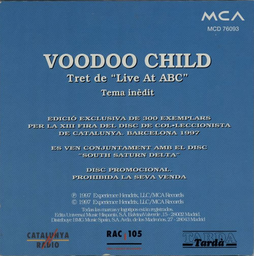 "Jimi Hendrix Inedito - Voodoo Child Live CD single (CD5 / 5"") Spanish HENC5IN125585"
