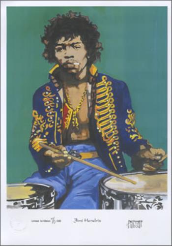 Jimi Hendrix Limited Edition Print - 250 Only artwork UK HENARLI383783