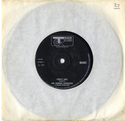 "Jimi Hendrix Purple Haze - Solid - Black label 7"" vinyl single (7 inch record) UK HEN07PU596508"