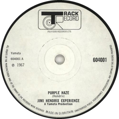 "Jimi Hendrix Purple Haze - Solid - White Label 7"" vinyl single (7 inch record) UK HEN07PU692395"
