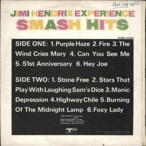 Jimi Hendrix Smash Hits - VG vinyl LP album (LP record) UK HENLPSM572176