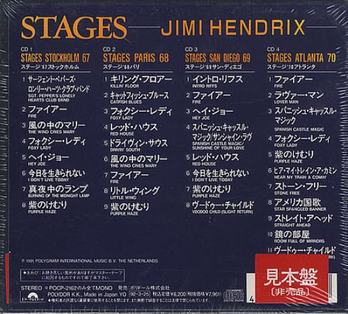 Jimi Hendrix Stages Sticker Japanese Promo 4 Cd Album