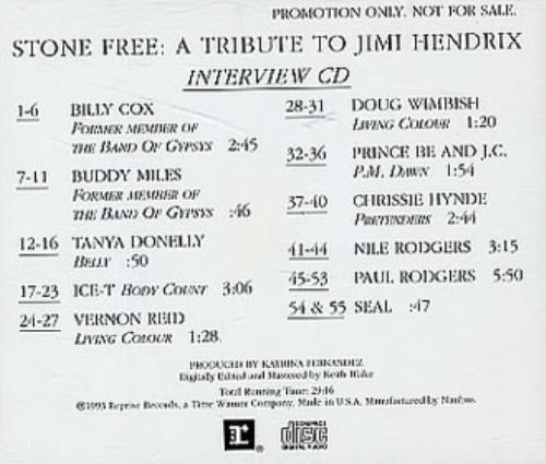 "Jimi Hendrix Stone Free:  A Tribute To Jimi Hendrix CD single (CD5 / 5"") US HENC5ST30051"