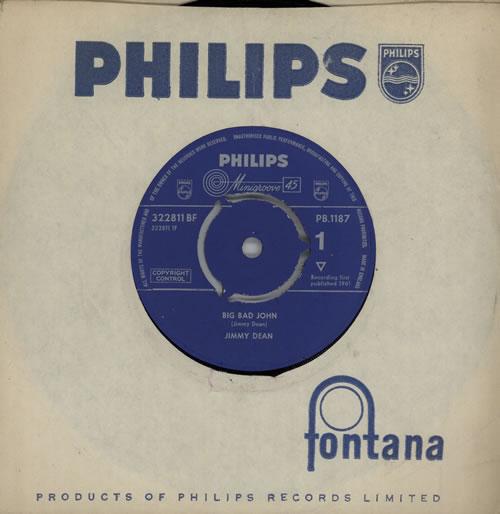 "Jimmy Dean Big Bad John - 3pr 7"" vinyl single (7 inch record) UK JD-07BI570766"