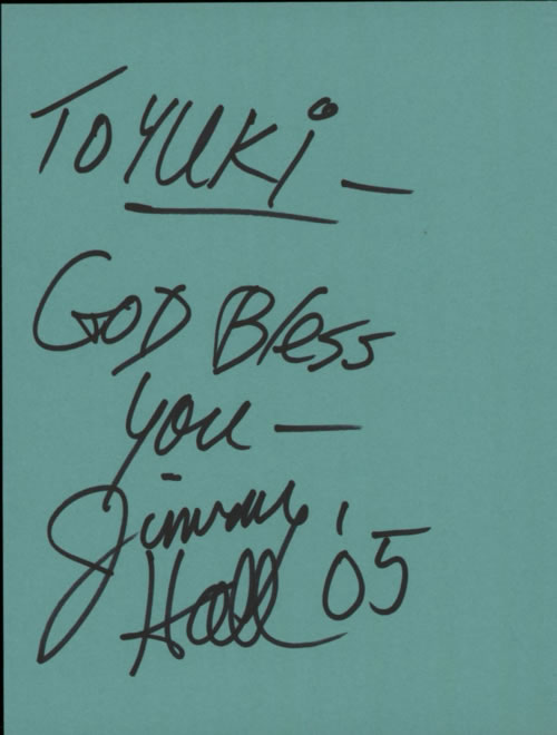 Jimmy Hall Page From An Autograph Book memorabilia UK K0MMMPA608888