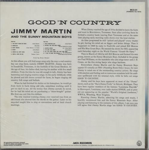 Jimmy Martin And The Sunny Mountain Boys Good 'n Country vinyl LP album (LP record) US JM-LPGO761901