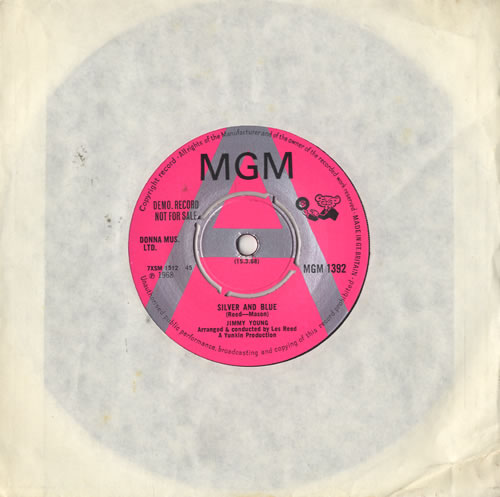"""Jimmy Young (DJ) Silver And Blue 7"""" vinyl single (7 inch record) UK JYO07SI483232"""