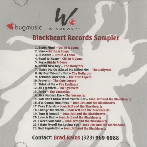 Joan Jett Blackheart Records Sampler CD-R acetate US JETCRBL473356