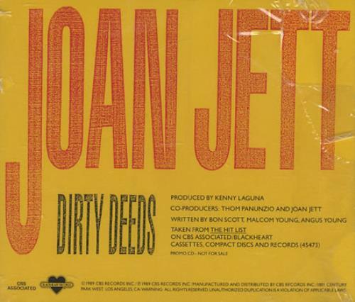 "Joan Jett Dirty Deeds CD single (CD5 / 5"") US JETC5DI35720"