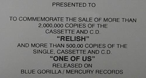 Joan Osborne Relish / One Of Us award disc US J-OAWRE478197