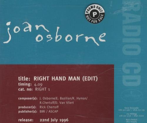 "Joan Osborne Right Hand Man CD single (CD5 / 5"") UK J-OC5RI63153"