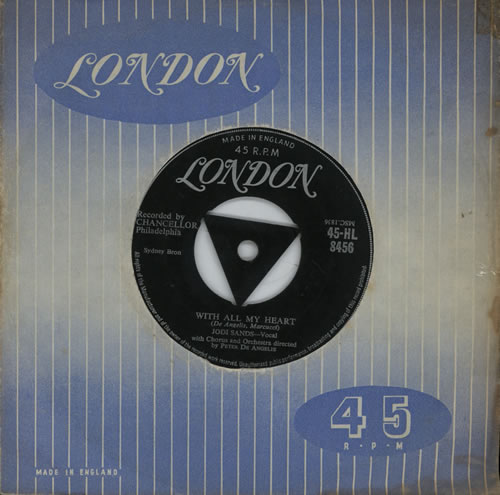 """Jodie Sands With All My Heart - VG 7"""" vinyl single (7 inch record) UK KPD07WI572905"""