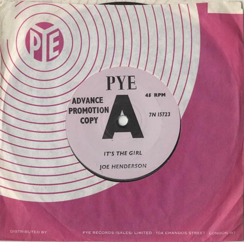 "Joe 'Mr Piano' Henderson It's The Girl 7"" vinyl single (7 inch record) UK HNP07IT469892"