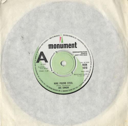 "Joe Simon Nine Pound Steel 7"" vinyl single (7 inch record) UK JQE07NI483230"
