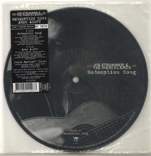 """Joe Strummer Redemption Song / Arms Aloft 7"""" vinyl picture disc 7 inch picture disc single UK JUM7PRE263687"""