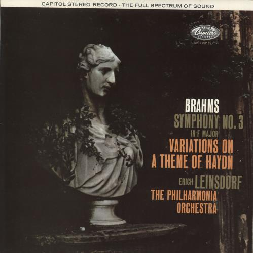 Johannes Brahms Symphony No. 3 In F Major, Variations On A Theme Of Haydn - 1st vinyl LP album (LP record) UK B10LPSY708877