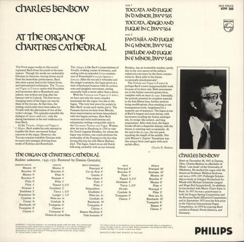 Johann Sebastian Bach Charles Benbow Plays Bach At Chartres Cathedral vinyl LP album (LP record) UK JHHLPCH732434