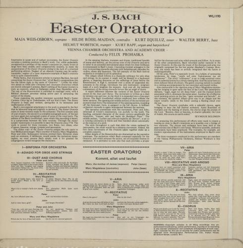 Johann Sebastian Bach Easter Oratorio vinyl LP album (LP record) UK JHHLPEA761156