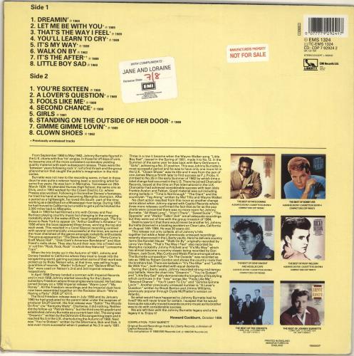 Johnny Burnette The Best Of Johnny Burnette vinyl LP album (LP record) UK 8JBLPTH700043