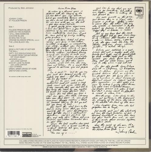 Johnny Cash At Folsom Prison - 180g vinyl LP album (LP record) US JCSLPAT775230