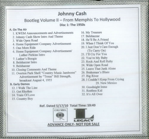 Johnny Cash Bootleg Volume II - From Memphis To Hollywood US Promo 2 CD  album set (Double CD)