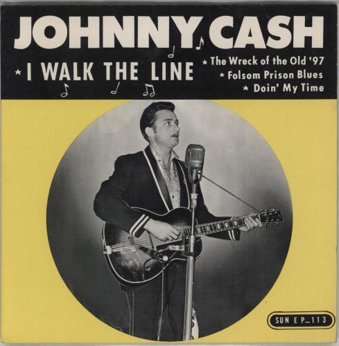 "Johnny Cash I Walk The Line 7"" vinyl single (7 inch record) US JCS07IW766404"