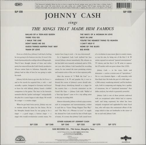 Johnny Cash Sings The Songs That Made Him Famous - 180g vinyl LP album (LP record) UK JCSLPSI762638