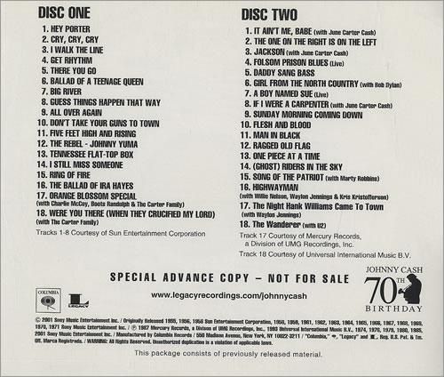 Johnny Cash The Essential Johnny Cash Us Promo 2 Cd Album