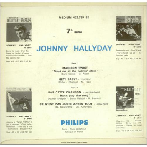 "Johnny Hallyday Madison Twist EP 7"" vinyl single (7 inch record) French JHD07MA423170"