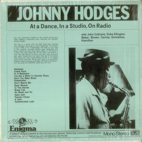 Johnny Hodges At A Dance, In a Studio, On Radio vinyl LP album (LP record) US JATLPAT542623