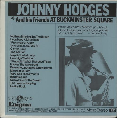 Johnny Hodges At Buckminster Square vinyl LP album (LP record) US JATLPAT542624