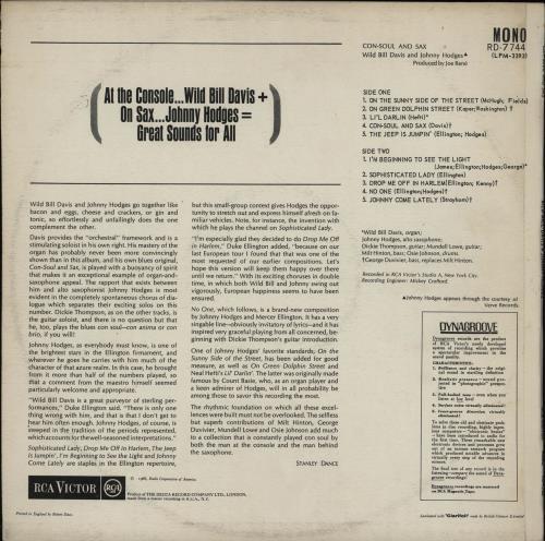 Johnny Hodges Con-Soul And Sax vinyl LP album (LP record) UK JATLPCO750845