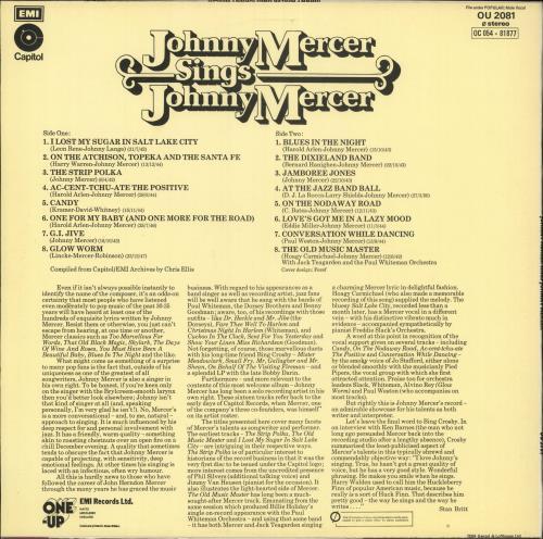Johnny Mercer Johnny Mercer Sings Johnny Mercer vinyl LP album (LP record) UK K75LPJO732089
