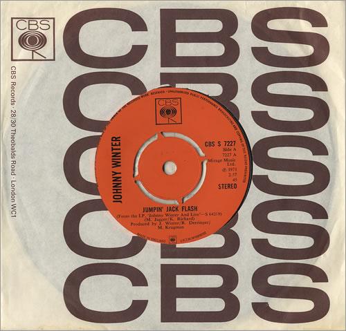"Johnny Winter Jumpin' Jack Flash 7"" vinyl single (7 inch record) UK JNW07JU491384"